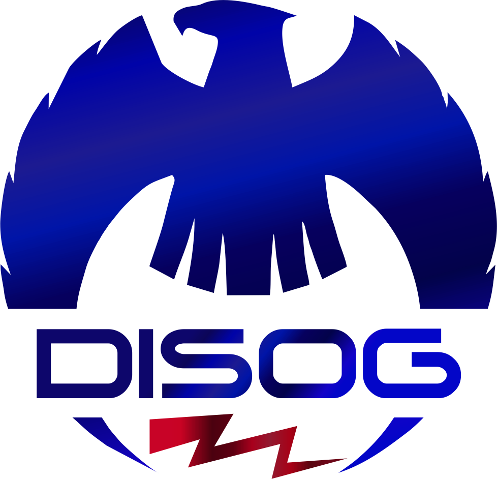 DISOG Logo, An Eagle, Lightning Bolt and the word DISOG